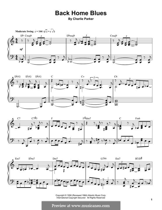 Back Home Blues: For piano by Charlie Parker