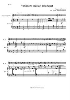 Variations on Hari Bouriquet: For alto saxophone and piano by Claudin de Sermisy