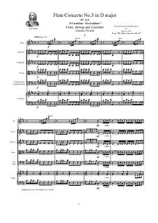 Six Flute Concertos for Flute, Strings and Cembalo, Op.10: Concerto No.3 in D major 'Il Cardellino' – score, parts, RV 428 by Antonio Vivaldi