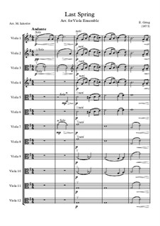 Two Elegiac Melodies, Op.34: No.2 Våren (The Last Spring), for viola ensemble by Edvard Grieg