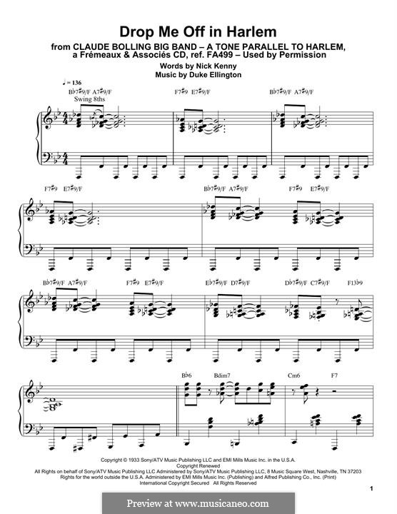 Drop Me Off in Harlem: For piano by Duke Ellington