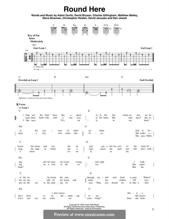 Round Here (Counting Crows): For guitar with tab by Adam F. Duritz, Chris Roldan, Dan Jewett, Dave Janusko, David Bryson