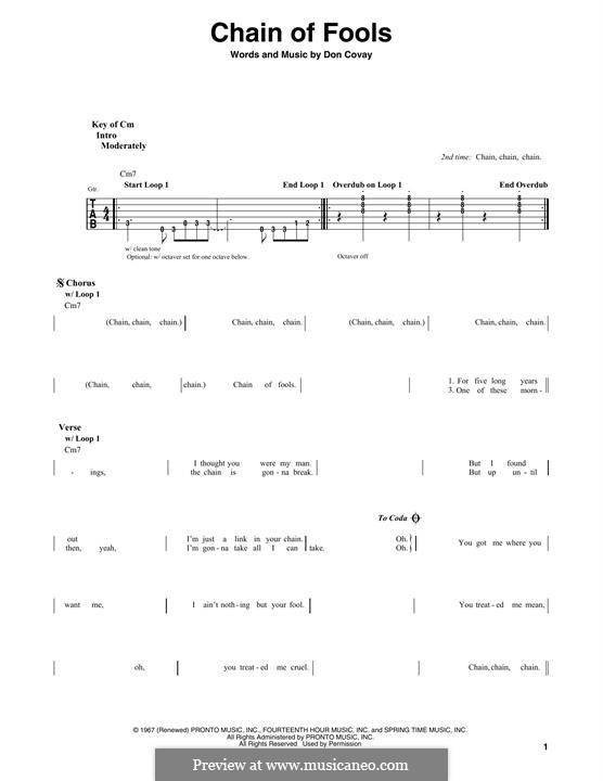 Chain of Fools (Eva Cassidy): For guitar with tab by Don Covay