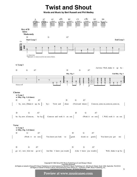 Twist and Shout (The Beatles): For guitar with tab by Bert Russell, Phil Medley