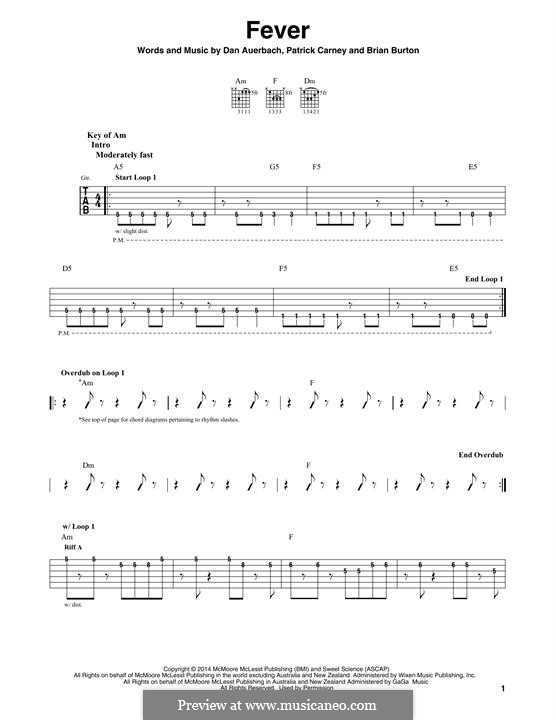 Fever (The Black Keys): For guitar with tab by Brian Burton, Daniel Auerbach, Patrick Carney