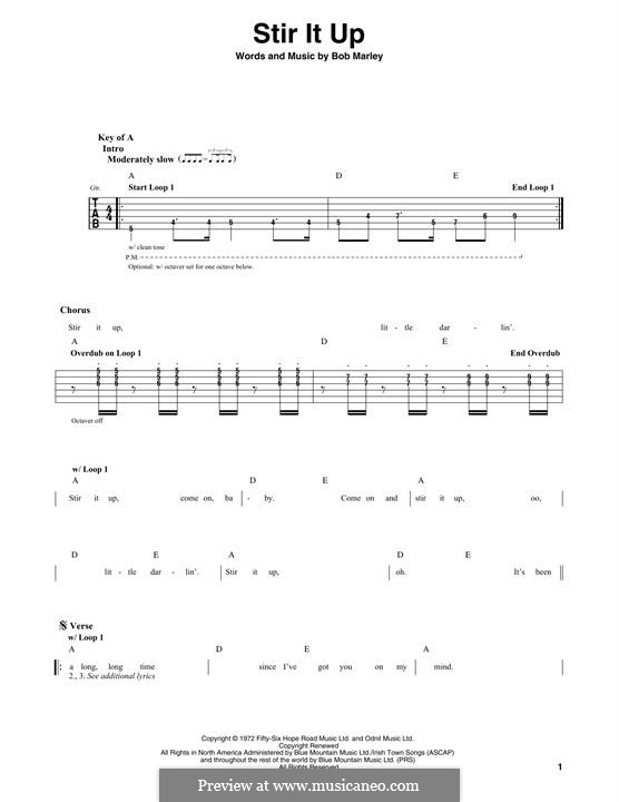 Stir It Up: For guitar with tab by Bob Marley