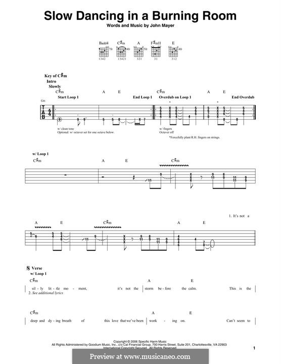 Slow Dancing in a Burning Room: For guitar with tab by John Mayer