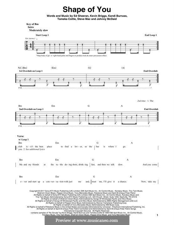 Shape of You: For guitar with tab by Ed Sheeran, Steve Mac, John McDaid