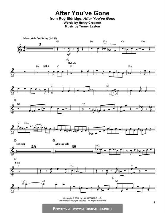 After You've Gone (Sophie Tucker): For trumpet by Henry Creamer, J. Turner Layton