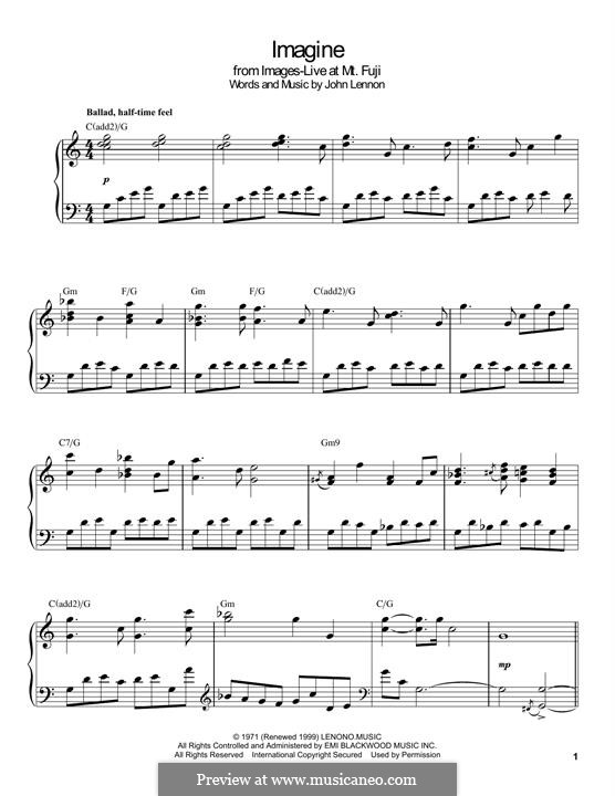 Imagine, for Piano: For a single performer by John Lennon