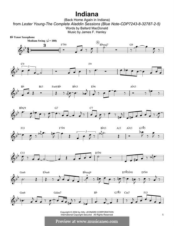 Indiana (Back Home Again in Indiana): For tenor saxophone by James Frederick Hanley