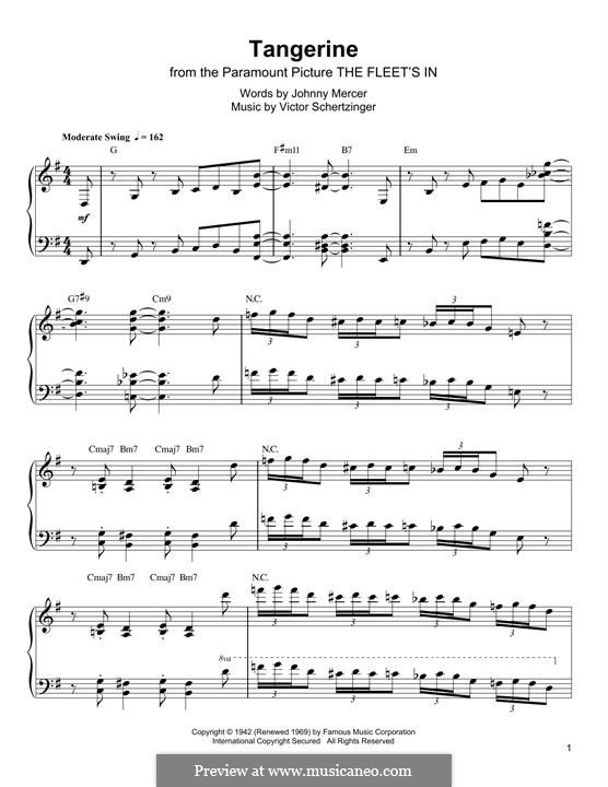 Tangerine: For piano (Oscar Peterson) by Victor Schertzinger