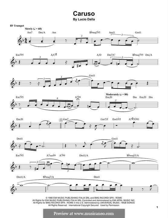 Caruso: For trumpet (Chris Botti) by Lucio Dalla