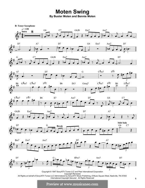 Moten's Swing (Moten and Moten): For tenor saxophone by Bennie Moten
