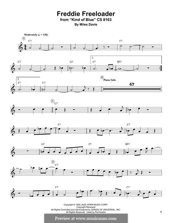 Freddie Freeloader: For trumpet by Miles Davis