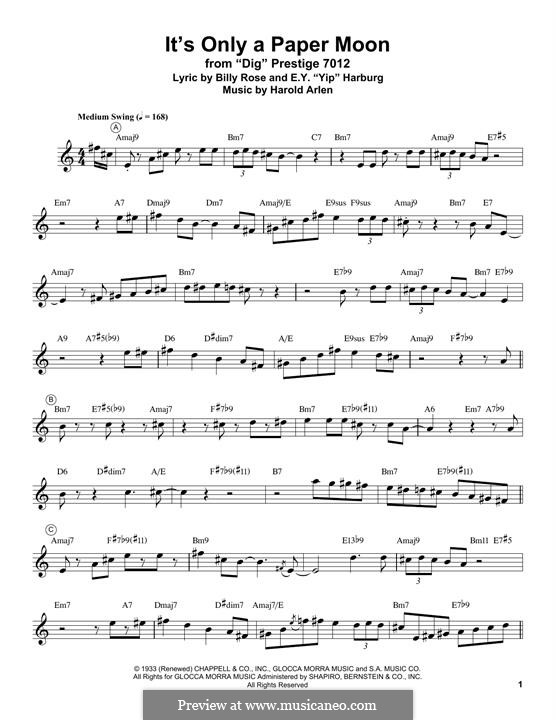 It's Only a Paper Moon: For trumpet by Harold Arlen