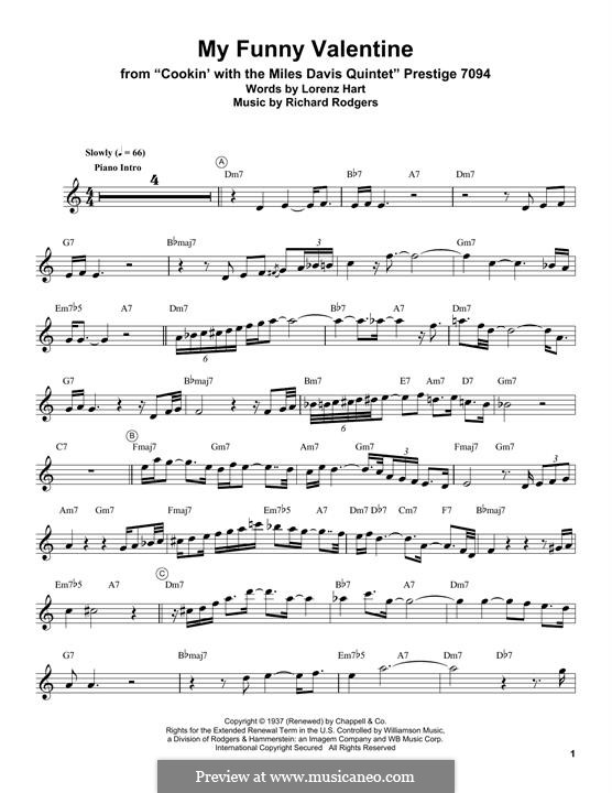 My Funny Valentine: For trumpet (Miles Davis) by Richard Rodgers