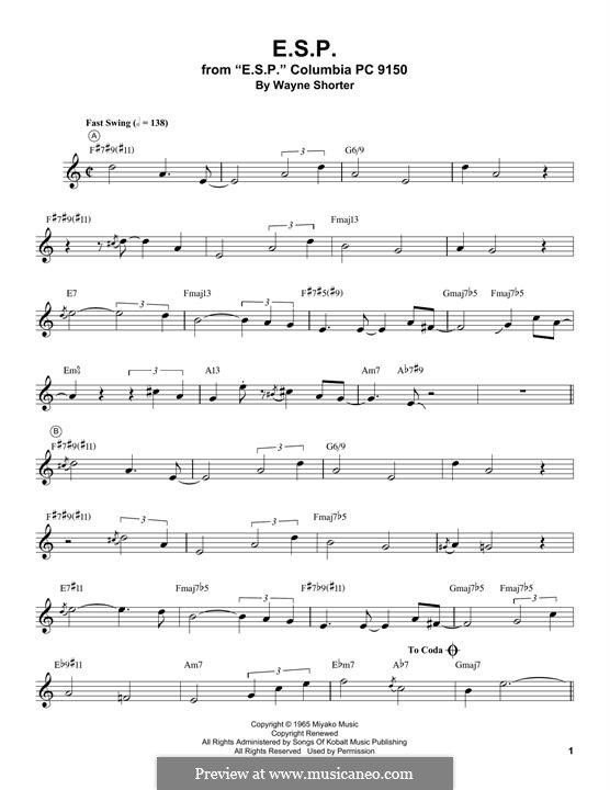 E.S.P.: For trumpet (Miles Davis) by Wayne Shorter