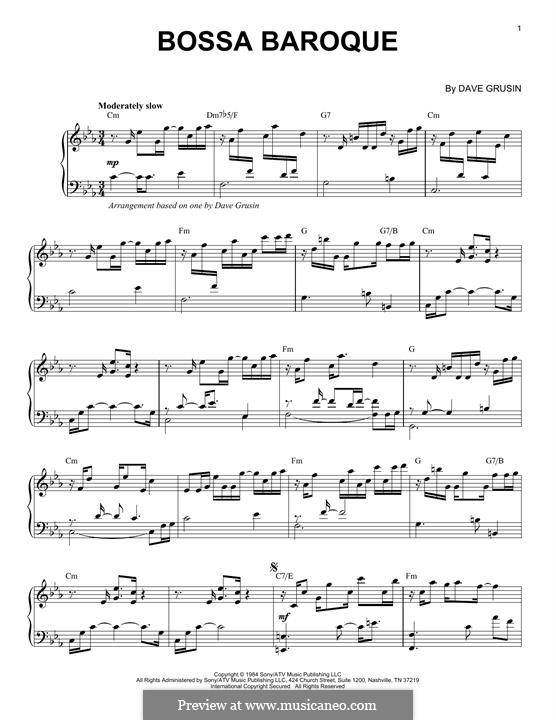 Bossa Baroque: For piano by Dave Grusin