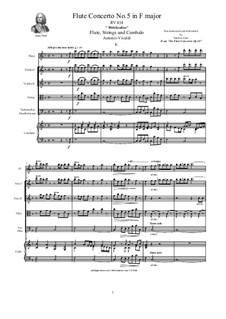 Six Flute Concertos for Flute, Strings and Cembalo, Op.10: Concerto No.5 in F major – score, parts, RV 434 by Antonio Vivaldi