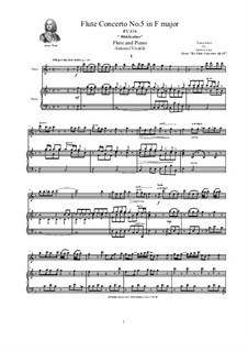 Six Flute Concertos for Flute, Strings and Cembalo, Op.10: Concerto No.5 in F major. Version for flute and piano, RV 434 by Antonio Vivaldi