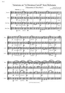 Remember, O Thou Man: Variations, for flute quartet (piccolo, flute, alto flute and bass flute) by Thomas Ravenscroft