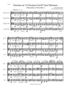 Remember, O Thou Man: Variations, for clarinet quartet (3 B flat clarinets and 1 bass clarinet) by Thomas Ravenscroft
