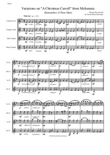 Remember, O Thou Man: Variations, for clarinet quartet (E flat, B flat, Alto and Bass) by Thomas Ravenscroft