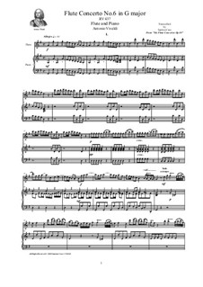 Six Flute Concertos for Flute, Strings and Cembalo, Op.10: Concerto No.6 in G major. Version for flute and piano, RV 437 by Antonio Vivaldi