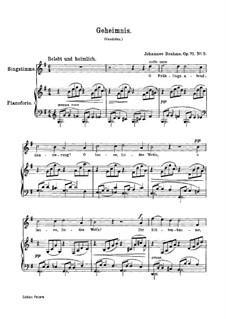 Five Songs, Op.71: No.3 Secret (German text) by Johannes Brahms