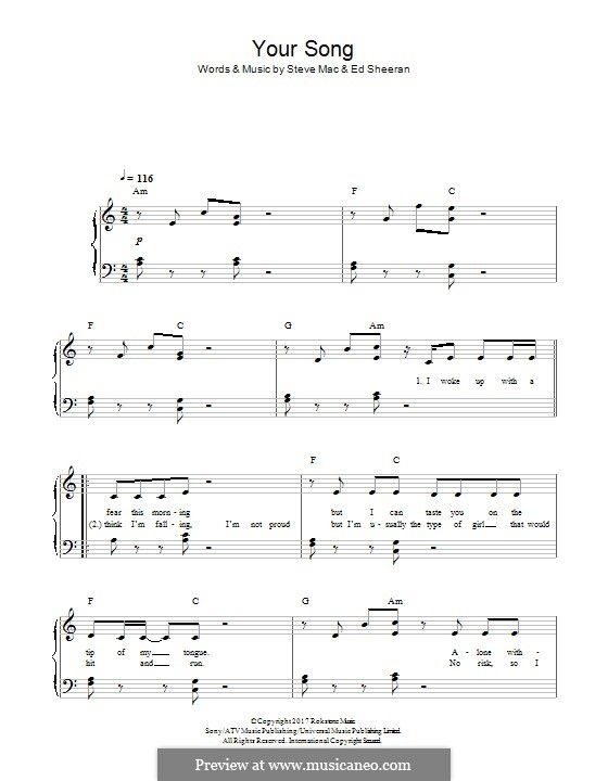 Your Song (Rita Ora): For piano by Ed Sheeran, Steve Mac