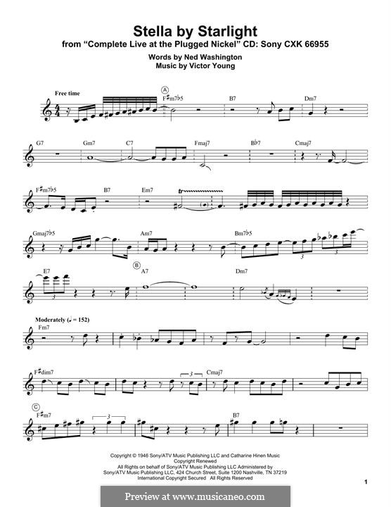 Stella By Starlight: For trumpet (Miles Davis) by Victor Young
