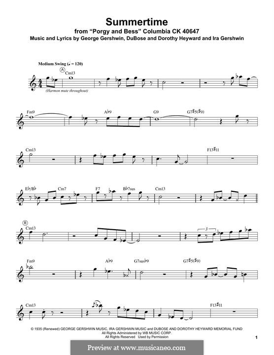 Summertime: For trumpet by George Gershwin