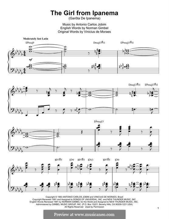 The Girl from Ipanema (Garota de Ipanema), for Piano: For a single performer by Antonio Carlos Jobim