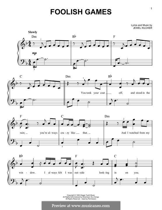 Foolish Games (Jewel): For piano by Jewel Kilcher