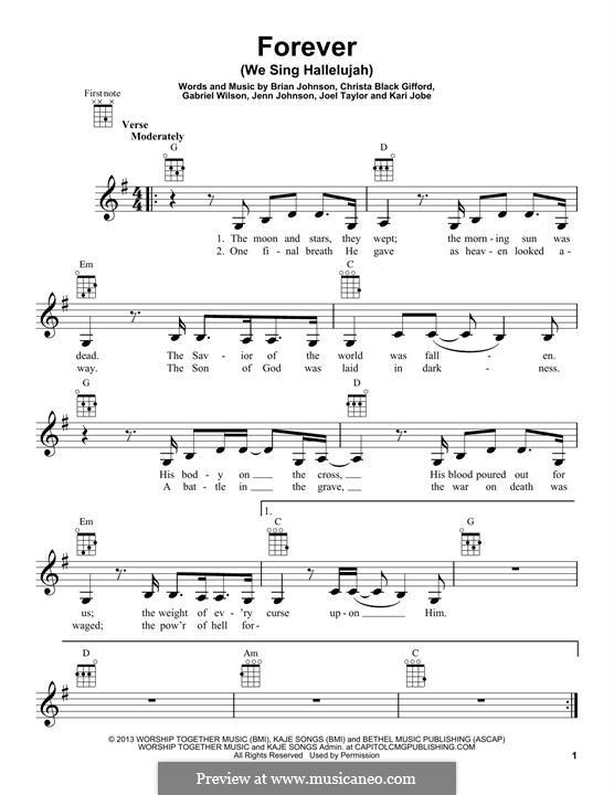 Forever (We Sing Hallelujah): For ukulele by Brian Johnson, Kari Jobe, Christa Black Gifford, Gabriel Wilson, Jenn Johnson, Joel Taylor