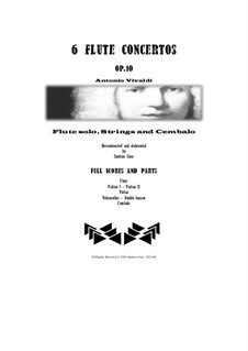 Six Flute Concertos for Flute, Strings and Cembalo, Op.10: Scores and parts by Antonio Vivaldi