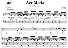 Ave Maria, D.839 Op.52 No.6: For contralto or countertenor (F Major) with piano accompaniment by Franz Schubert