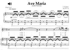 Ave Maria, D.839 Op.52 No.6: For mezzo or baritone (A-Flat Major) with piano sing-along by Franz Schubert