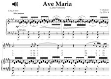 Ave Maria, D.839 Op.52 No.6: For mezzo, soprano or tenor (A Major) with piano sing-along by Franz Schubert