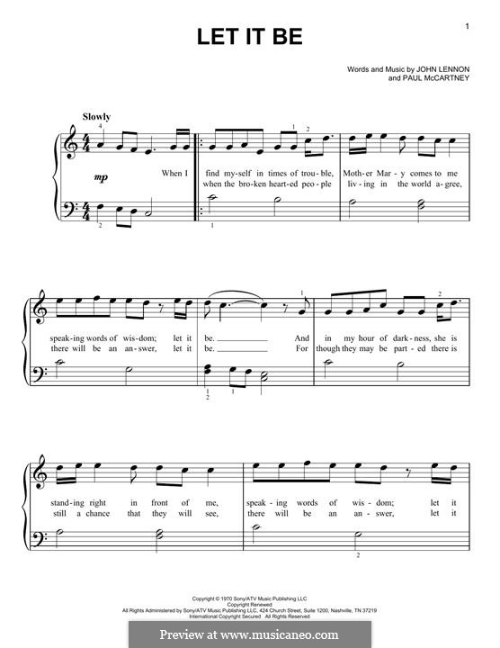 Let It Be For Piano By J Lennon P Mccartney Sheet Music On Musicaneo