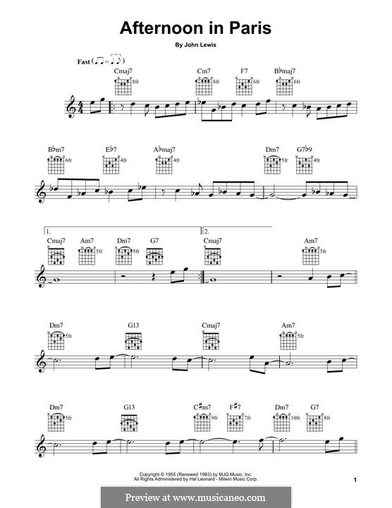 Afternoon in Paris: For guitar with tab by John Aaron Lewis