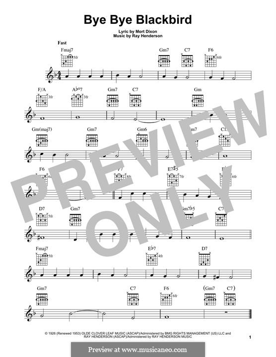 Bye Bye Blackbird: For guitar with tab by Ray Henderson