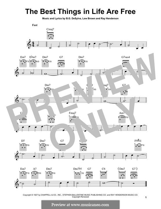 The Best Things in Life are Free (Dinah Shore): For guitar with tab by Buddy Gard DeSylva, Ray Henderson, Lew Brown