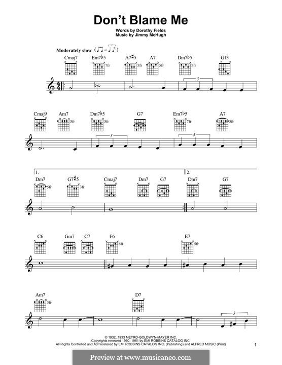 Don't Blame Me: For guitar with tab by Jimmy McHugh