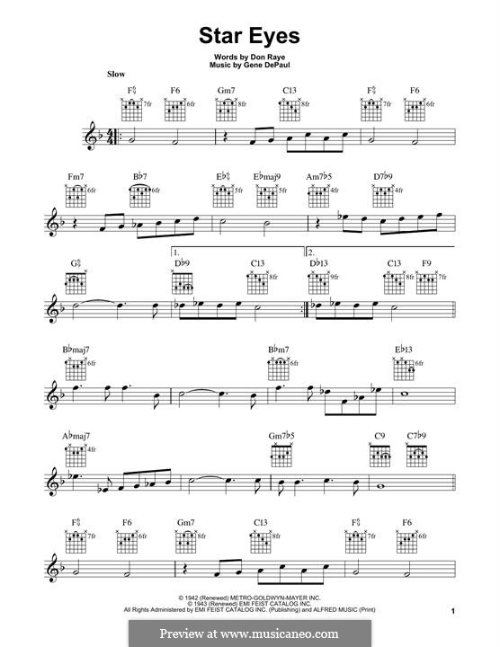 Star Eyes (Jimmy Dorsey): For guitar with tab by Gene de Paul