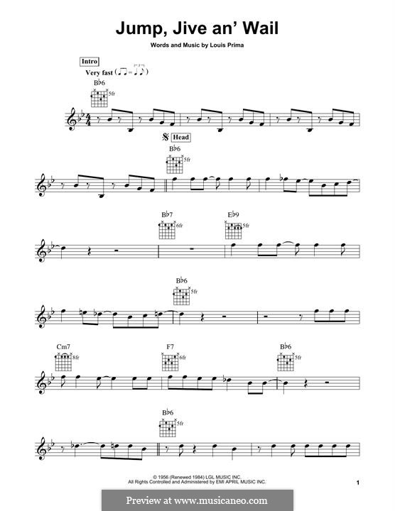 Jump, Jive an' Wail: For guitar with tab by Louis Prima