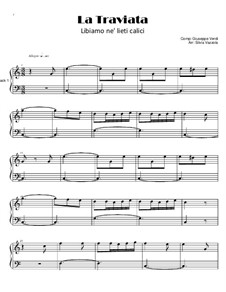 Libiamo ne'lieti calici (Brindisi): For piano by Giuseppe Verdi