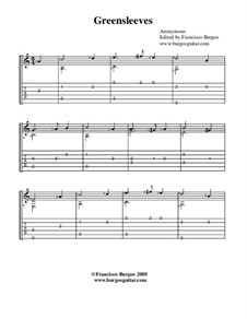 Greensleeves: For guitar with tabulature by folklore