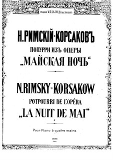 May Night: Potpourri, for Piano Four Hands by Nikolai Rimsky-Korsakov
